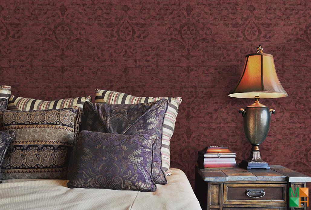 Giấy dán tường phòng ngủ giả vải đẹp